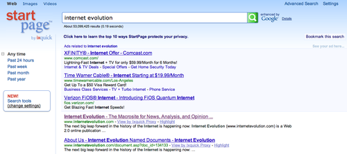 Results of search for Internet Evolution on StartPage.