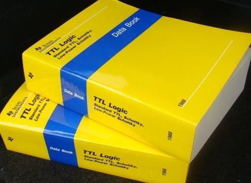 The much beloved Texas Instruments TTL data books (in soft cover).