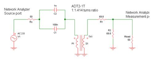 Test schematic for a 1:2 ohms ratio balun transmission measurement.