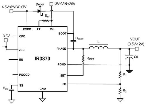External circuitry with the '3870 that creates a buck switching regulator.