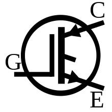 A commonly used symbol for the IGBT (Source: Wikipedia)