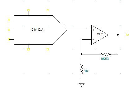 A 0-5V out DAC driving an op-amp to give a 0-10V range.