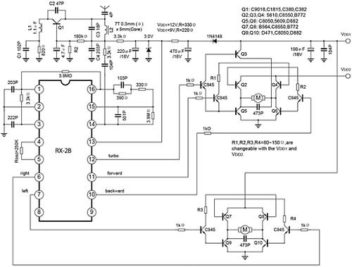 remote control car circuit diagram datasheet and application note