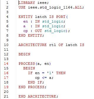 VHDL code for an asynchronous latch.