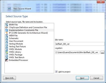Creating the .BIT file - The New Source Wizard.