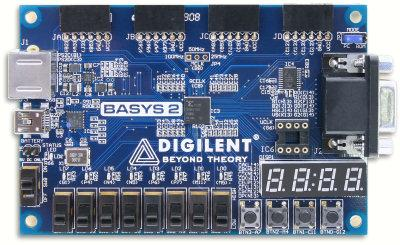 The Digilent Basys2 DPGA-based circuit design and implementation platform.