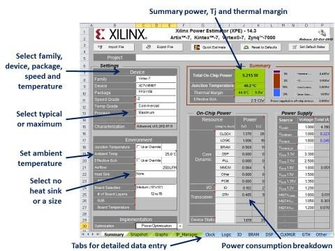 The Xilinx Power Estimator (XPE).