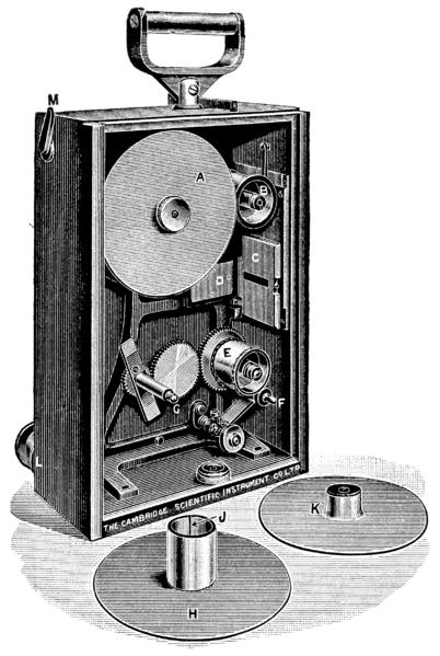 Here is a picture of the interior of the cinematograph camera as used on the Duddell moving coil oscillograph. One of the reels that carried the film is lying in the front.