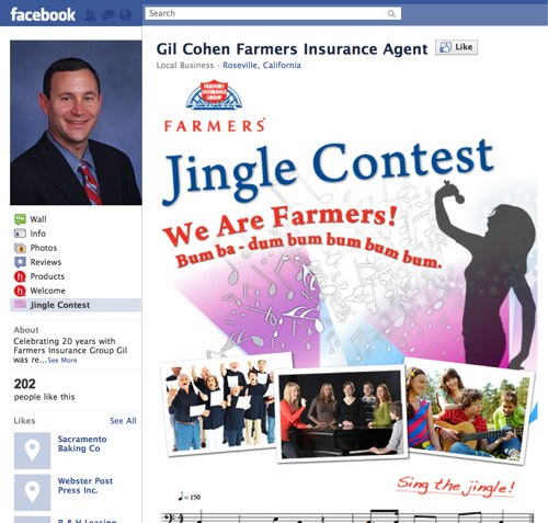 A Farmers Insurance agent's Facebook page.