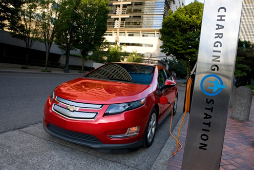 A Chevrolet Volt at a charging station. (Source: TRUEcar)
