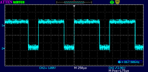 Forcing the loop into its unstable region by setting the trimpot for R2=0 (no phase margin) caused jitter on the 3.088 MHz clock to jump up to about 10 ns.