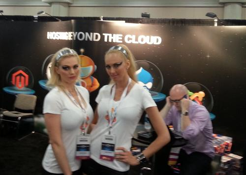 Solar VPS was the only company to feature booth babes at Cloud Expo this year. The gentleman behind the promotional models seems unmoved.