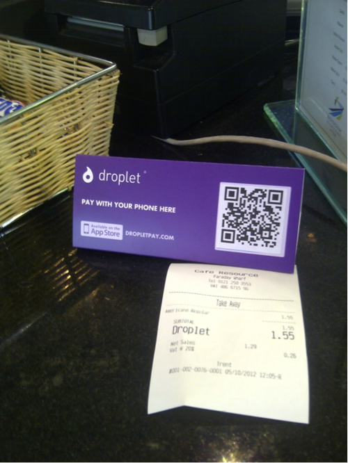 The Droplet QR code that enables smartphone payments at merchants in Birmingham.