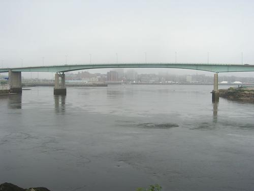 Saint John, New Brunswick, shrouded in fog. Photo via Wikimedia Commons.