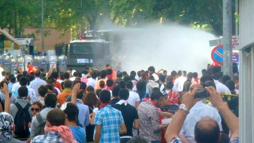 Turkish police turn water cannon on protestors in Ankara in June 2013