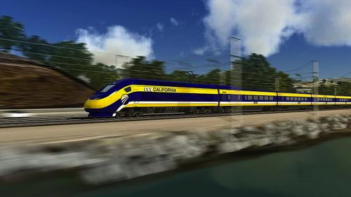 Computer-generated image of the proposed high-speed trains for use in California.(Source: California High-Speed Rail Authority via Wikimedia Commons)