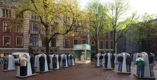 Waternet has installed temporary urinals in a square in central Amsterdam