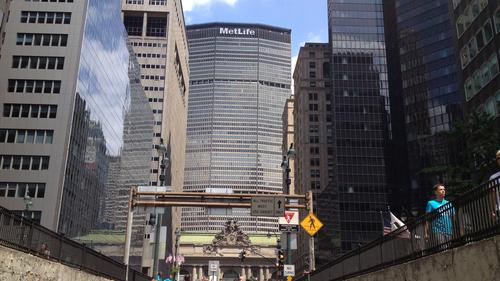View of the Met Life building and surrounding towers located in Midtown East.