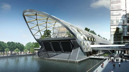 Artist's impression of the Crossrail station at Canary Wharf, designed by Foster + Partners.