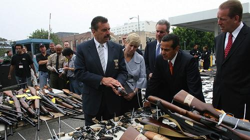 Photo from LA's gun buyback event in 2009. (Source: Antonio R. Villaraigosa, former mayor of LA, via Flickr.)