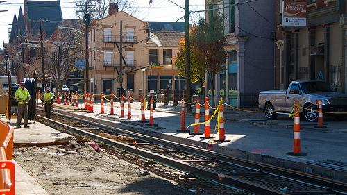 Streetcar construction in Cincinnati. (Photo credit: Travis Estell via Flickr.)