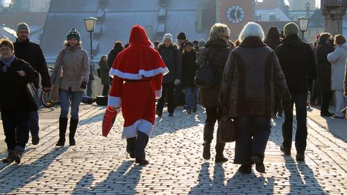 Santa Claus in Regenburg, Germany: 'Thank goodness this city is so walkable.'