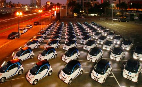 Electric cars in San Diego.(Source: Car2Go)