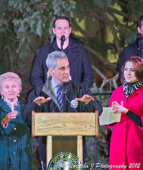 Mayor Rahm Emanuel of Chicago at last year's tree-lighting ceremony in that city. The mayor has stressed the need to address employee pension funds.  