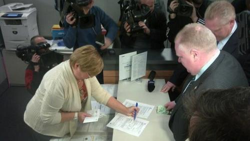Rob Ford filing his paperwork to run in the 2014 election. (Source: Mayor Rob Ford via Twitter.)