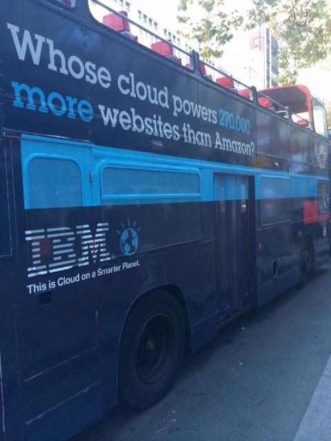 IBM cloud ad on a bus in San Francisco.  (Source: IBM)