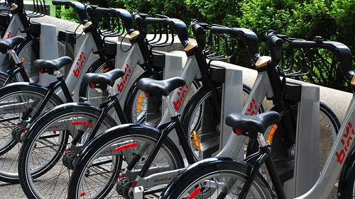 Bankrupt Bixi's bikes in Montreal. The mayor intends to keep the service in operation throughout 2014, though this may cost taxpayers $1.5 million, according to the Montreal Gazette.(Source: Adam Fagen via Flickr)