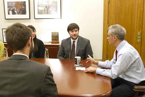 Chicago Mayor Rahm Emanuel in a meeting with city technology leaders.  (Source: Daniel X. O'Neil via Flickr)