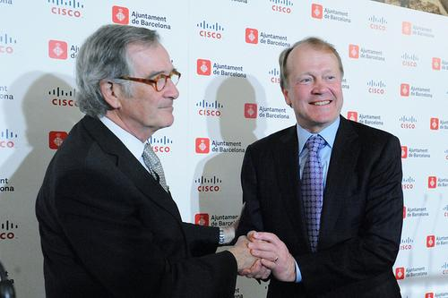 Mayor Xavier Trias of Barcelona meeting with John Chambers in 2012.(Source: Xavier Trias via Flickr)