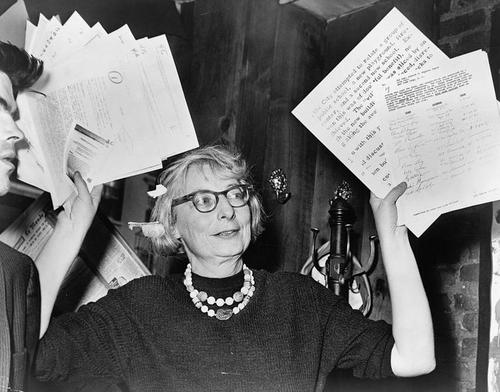 Jane Jacobs defends Greenwich Village at the original Lion's Head bar.