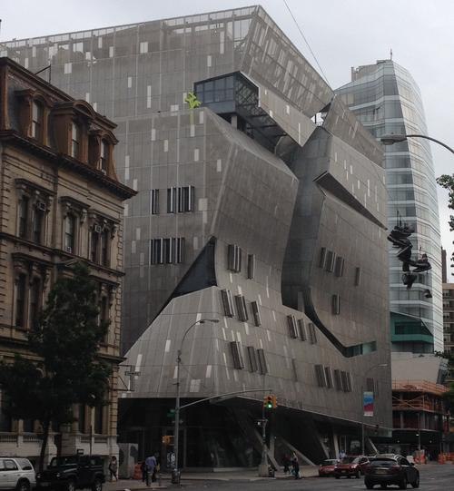 This is what I'd expected -- a dramatic, modernist intervention on the old Bowery, just across the street from the original Cooper Union, which opened in 1858 and is still in use. Platinum certified.