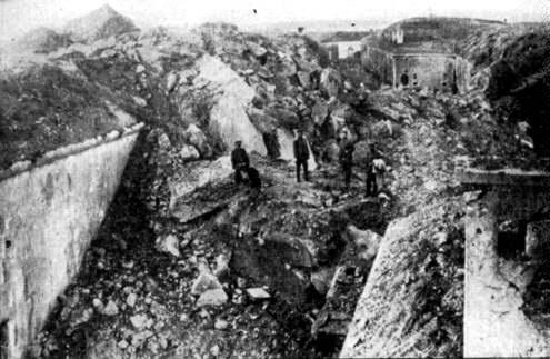 The remnant of the forts at Liège following the German assault in August 1914. (Source: Wikipedia)