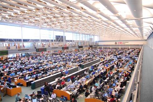 UBS' trading floor, located in Stamford, Conn., has 1,400 seats managing more than 1,689,000 transactions a day.