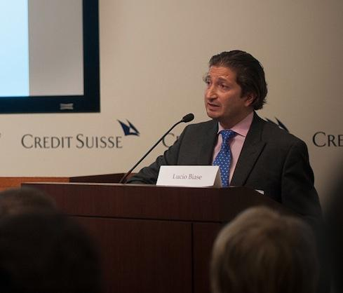 Lucio Biase, CEO at LMRKTS, one of six startups presented at the fourth annual FinTech Innovation Lab Demo Day, hosted at Credit Suisse.