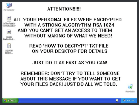 GPCoder  Some of the first instances of ransomware appeared in the wild starting in about 2005 with the emergence of variants like Krotten, Archiveus and GPCoder. GPCoder stood out from the crowd through its use of strong encryption--it used 1024-bit RSA encryption when obfuscating files to trip up recovery through brute force.  Image Credit: http://blog.talosintel.com/2016/04/ransomware.html
