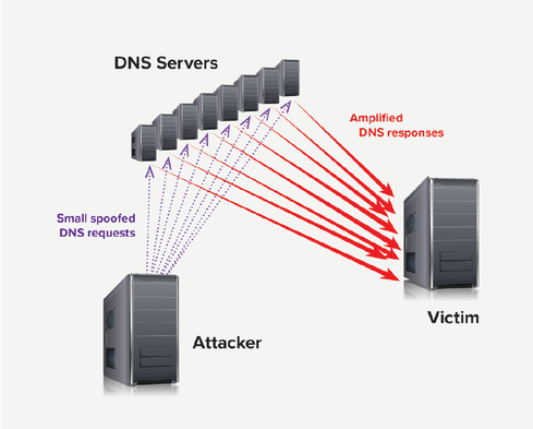 A DNS amplification attack floods the victim's server with a tsunami of fake requests. 