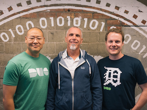 (From left to right: Dug Song, Duo cofounder and CEO, Gee Rittenhouse, SVP and GM of Cisco Security, and Jon Oberheide, Duo cofounder and CTO)