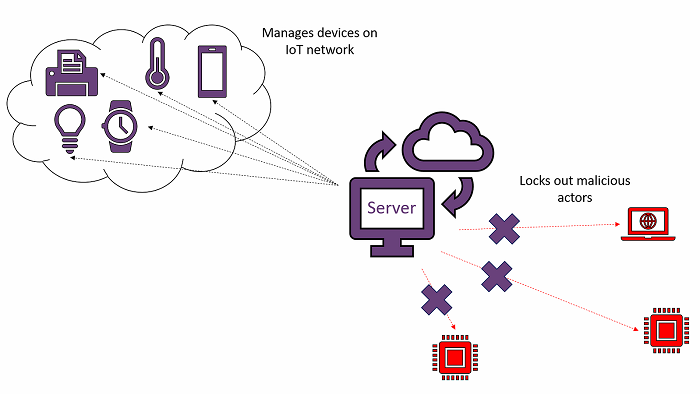 A central server protects the IoT network. Credit: Dr. Charles Grover