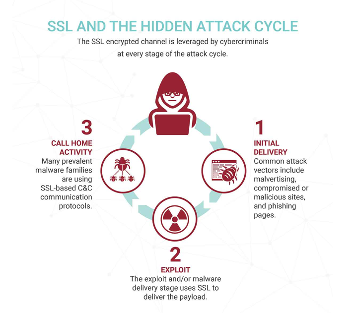 Evasion a Big Factor Last year's  Worldwide Infrastructure Security Report found that over half of security professionals have experienced attacks via HTTPS channels. As Zscaler analysis explains above, SSL-based attacks are being used in just about every stage of the attack cycle. In particular, though, SSL is leaned on heavily as a quiet way to route outbound traffic from malicious payloads back to command-and-control servers. This kind of callback traffic is dominated by banking Trojans, which make up about 60% of that activity, according to Zscaler.  Image Source: Zscaler