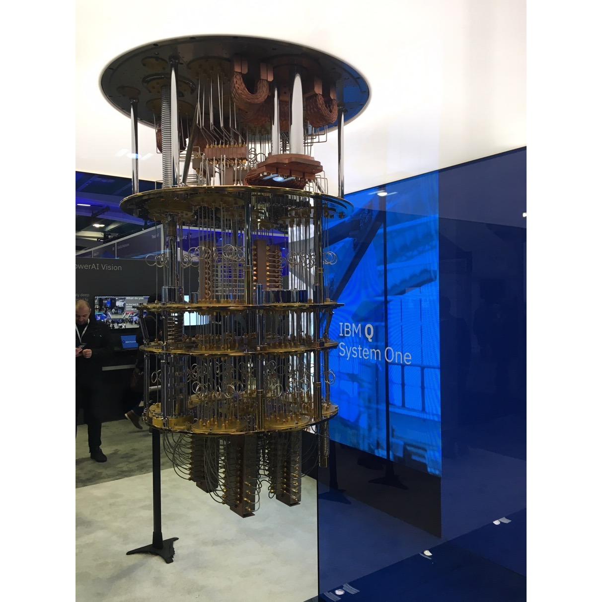 Today's largest publicly available computer from IBM: IBM's Q System One, a 20-qubit machine, was on  parade at IBM's  believe Conference in San Francisco this February. It is shown here without the cooling required to  gain it to a fraction of a degree above absolute zero. Source: SecurityFirst