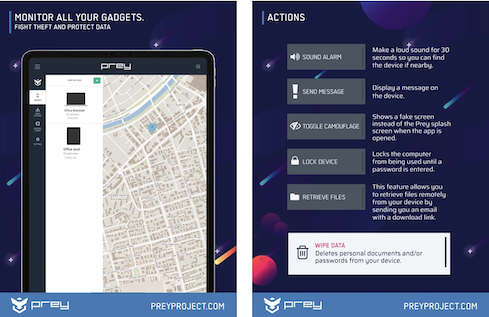 Prey Both iPhone and Android devices come with built-in measures to track a lost or stolen phone. Prey Security aims to build on those capabilities with tools that make it easier to track and recover a lost smartphone, tablet, or laptop, as well as the data on it. The app lets you configure 'control zones,' or specific areas on a map the device shouldn't leave. Each zone can be configured with security measures -- for example, a lock -- that activate when a device moves in or out of it. If a device is missing, you can lock the screen remotely, send an alert to contact the owner, or set off an alarm that will 'ring like gangbusters,' so you should hear it if the stolen phone is nearby. When a device goes missing, Prey generates a report that includes GPS tracking coordinates, active nearby Wi-Fi locations, and hardware information about the device (IP, MAC address, and serial number) to confirm it's yours. When available, it'll also snap a picture of the perpetrator. Pricing: A free plan lets you track up to three devices in a single control zone, take basic security actions, and receive evidence reports, though you don't receive data protection or reactive security. Prey also has a personal plan ($5/month, three devices), home plan ($15/month, 10 devices), and enterprise plans for corporate devices. Find it on the Apple App Store and Google Play. (Image: Prey via the Apple App Store)