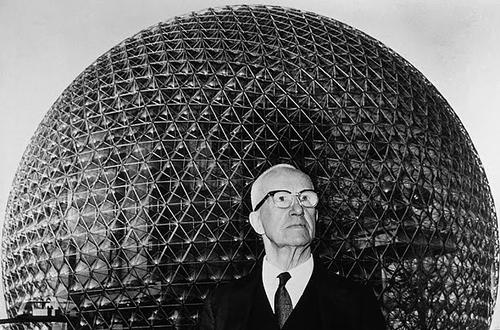 R. Buckminster Fuller was a practical philosopher who demonstrated his ideas as inventions that he called artifacts. Some were built as prototypes; others exist only on paper; all he felt were technically viable. His most famous invention was the Geodesic Dome developed in 1954. Its design created the lightest, strongest, and most cost-effective structure ever devised. The Geodesic Dome is able to cover more space without internal supports than any other enclosure.   (Source: openculture.com)