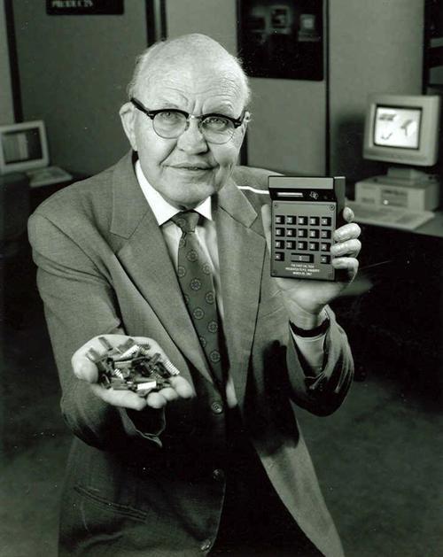 Jack Kilby was an American electrical engineer who took part (along with Robert Noyce) in the realization of the first integrated circuit while working at Texas Instruments in 1958. He was awarded the Nobel Prize in physics in 2000. He was also the inventor of the handheld calculator and the thermal printer, for which he has patents. He also has patents for seven other inventions.   (Source: itok.net)