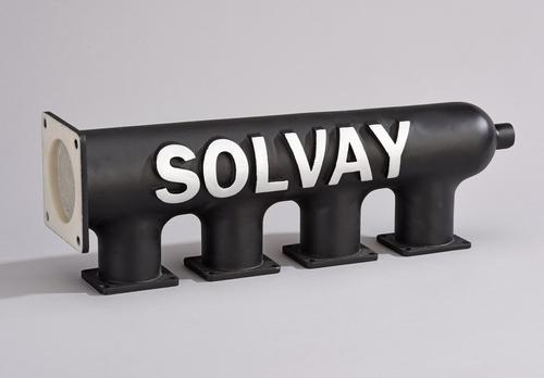 The other 3D-printed component, a plenum chamber made with Sinterline Technyl PA (polyamide) 6, will be fabricated with SLS (selective laser sintering). The grade used for this part is reinforced with a 40% glass bead loading for dimensional stability.   (Source: Solvay)