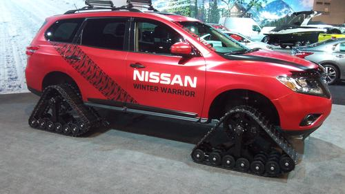For the Chicago Auto Show, Nissan built three vehicles with heavy-duty snow tracks instead of standard wheels and tires. Called Winter Warriors, the vehicles were based on the company's Pathfinder, Murano, and Rogue crossovers. All three employed Dominator Tracks from American Track Truck Inc. measuring 48 inches long, 30 inches high, and 15 inches wide. The suspensions and wheel wells were modified to fit snow tracks, but the engines and transmissions were factory built. (Source: Design News)