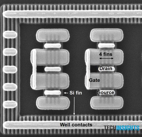 Samsung's 14 nm LPE FinFET transistors